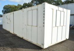 32 ft x 10 ft steel anti vandal site office unit Comprising kitchen area c/w keys in office