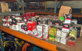 Quantity of various oil & fuel filters as photographed