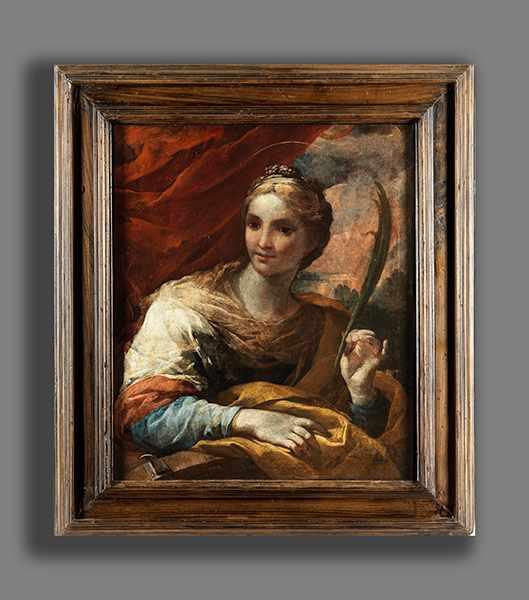 Lot 1244 - Italienischer Maler des 17. Jahrhunderts HEILIGE KATHARINA Öl auf Leinwand. Doubliert. 73 x 62 cm.