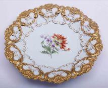 zurückgezogenLarge plate, Meissen, 20th C., floral decoration, D: 30,5cm