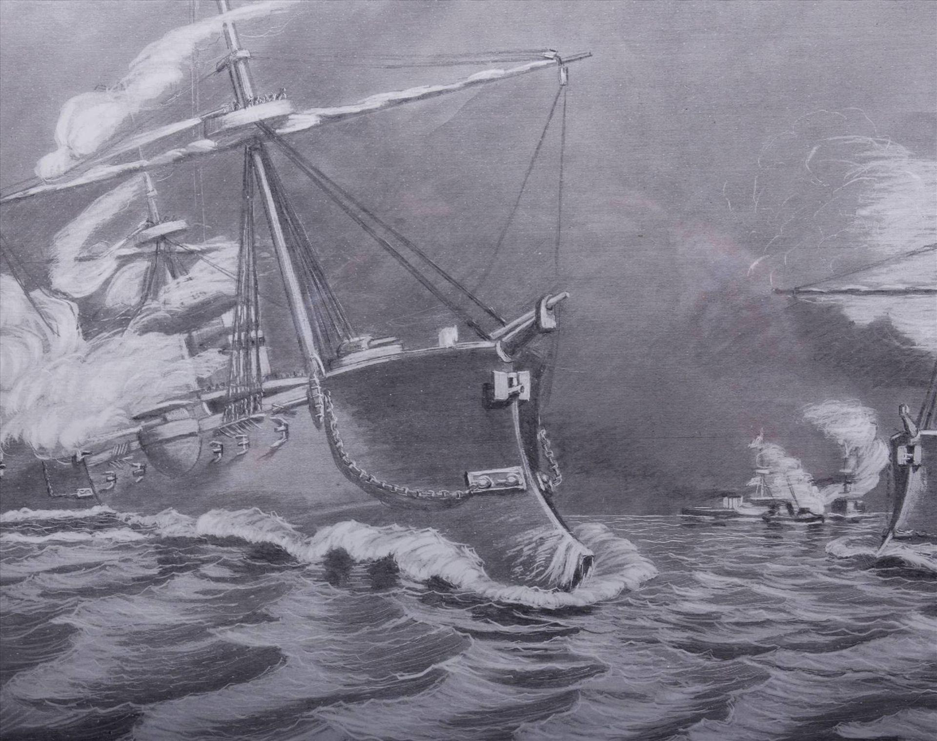 Wilhelm Prinz von Preußen, Kriegsschiffe der MarineDruck nach einem Gemälde, 1886, u.r. im Blatt - Bild 3 aus 6