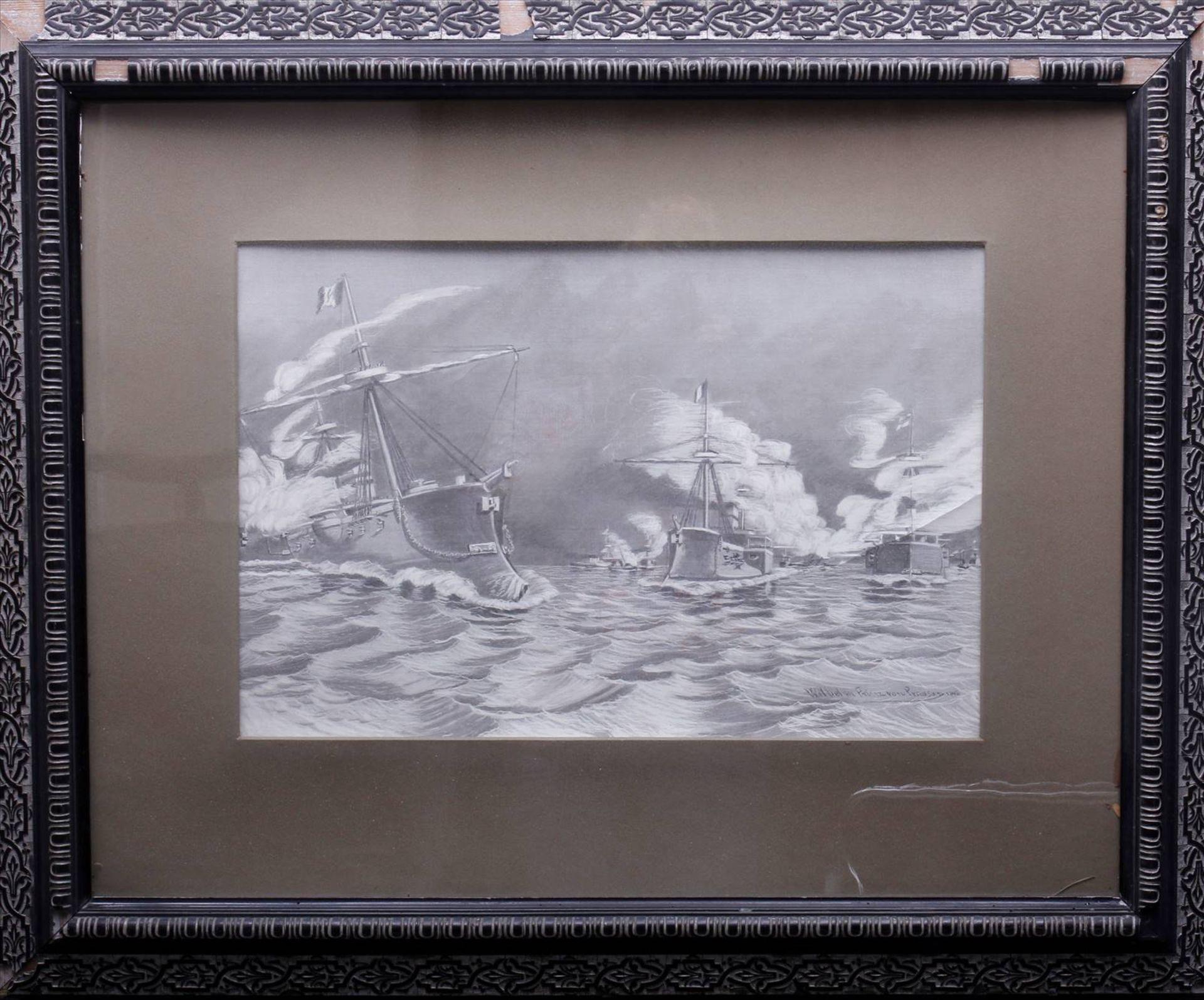 Wilhelm Prinz von Preußen, Kriegsschiffe der MarineDruck nach einem Gemälde, 1886, u.r. im Blatt