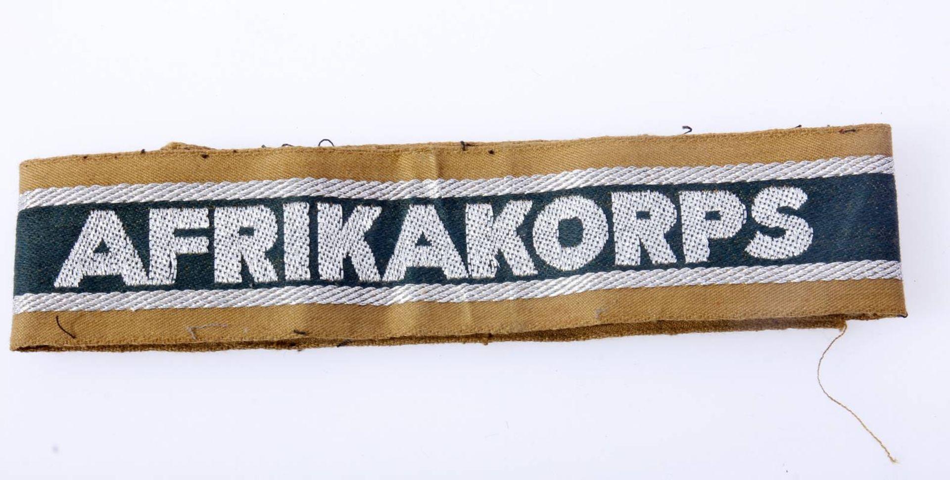 Ärmelstreifen Afrikakorps WehrmachtGetragener Ärmelstreifen von der Uniform abgetrennt. Band mit - Bild 3 aus 3