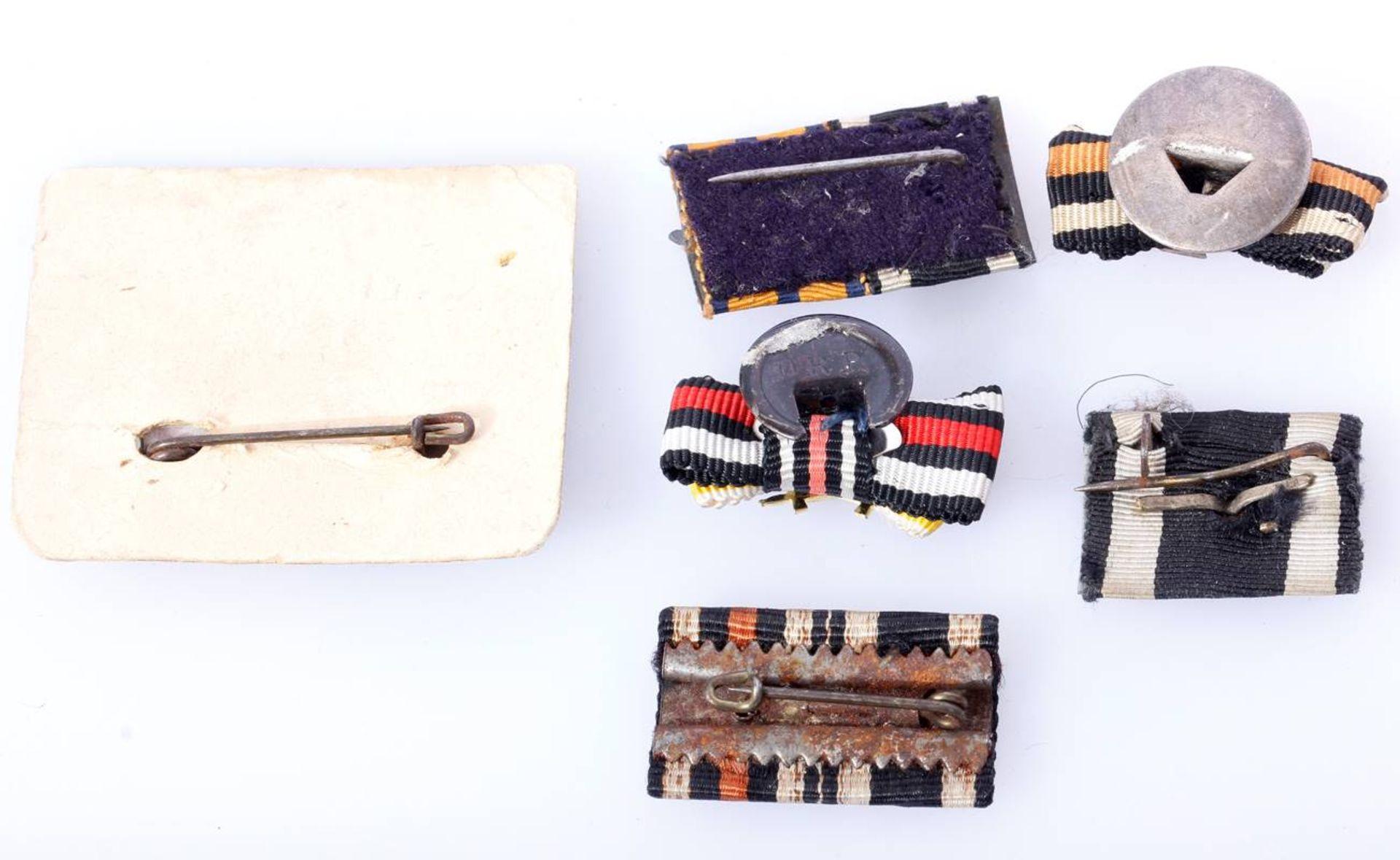 6 x Knopflochdekoration und Feldspangen 1. WetltkriegBandspangen und Auflagen zum EK 2 1914, - Bild 2 aus 2