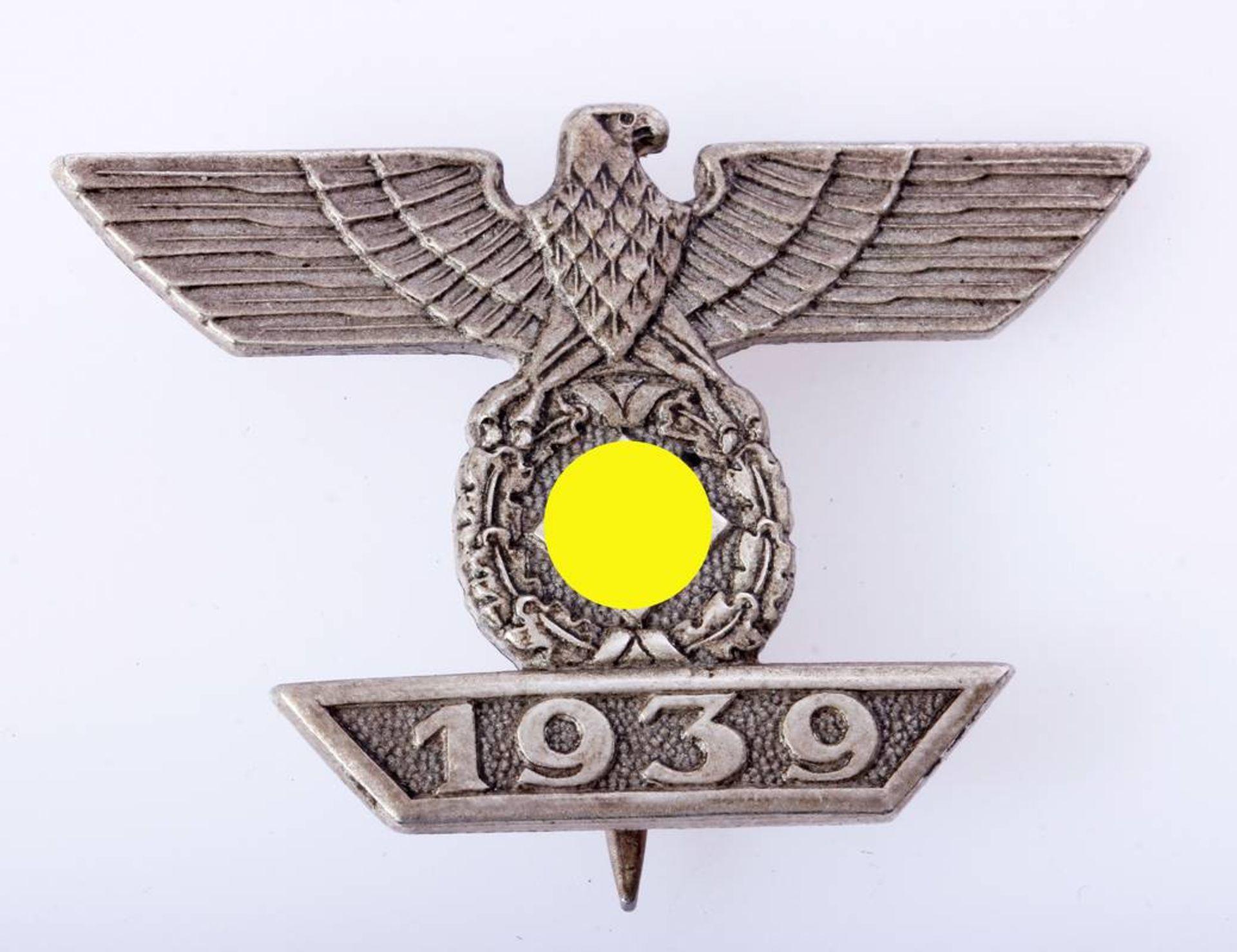 Wiederhohlungsspange EK1 1939 an NadelWiederhohlungsspange zum Eisernen Kreuz 1.Klasse 1939 an