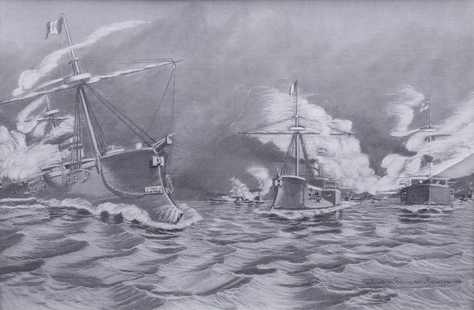 Wilhelm Prinz von Preußen, Kriegsschiffe der MarineDruck nach einem Gemälde, 1886, u.r. im Blatt - Bild 2 aus 6