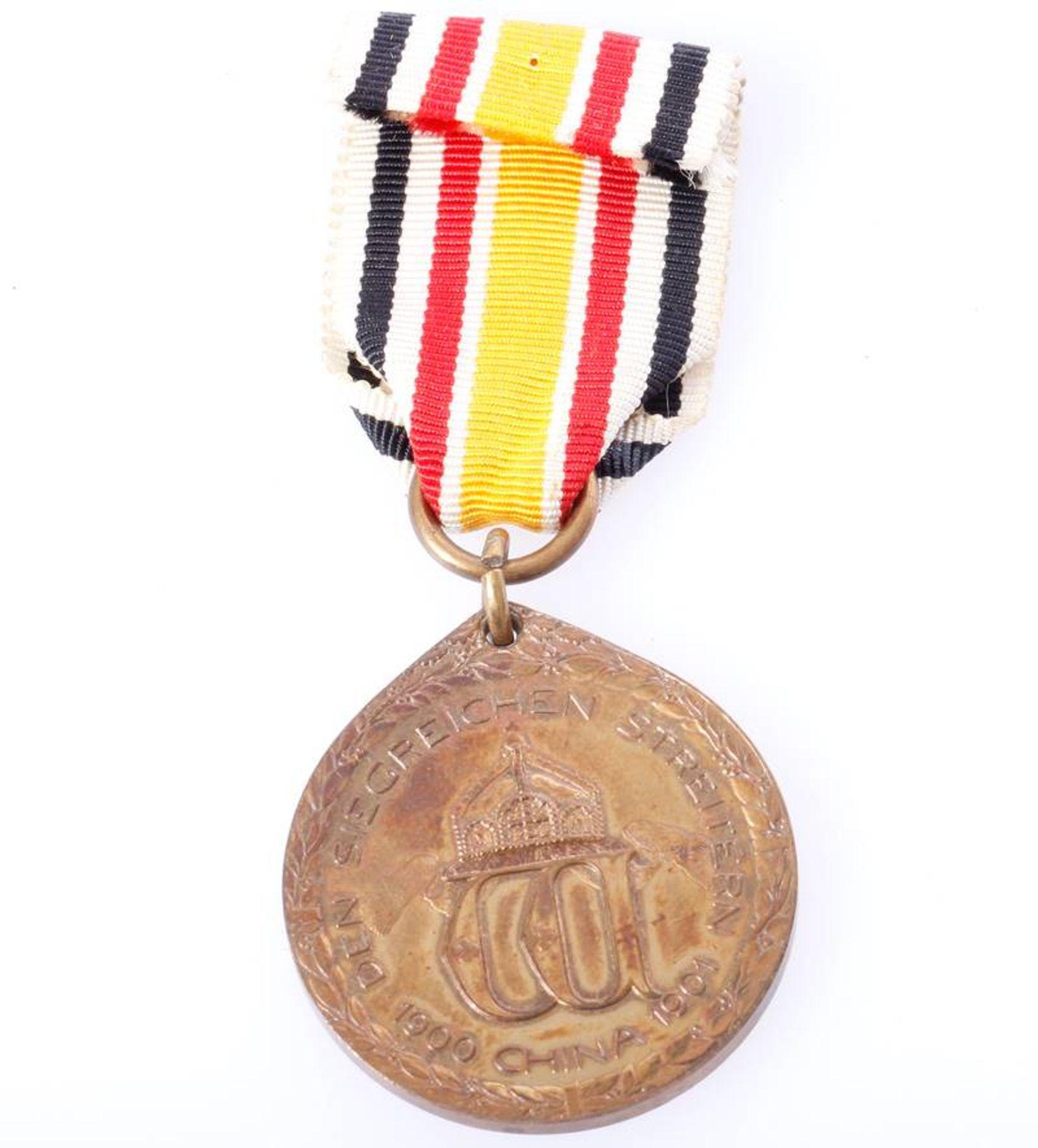 China Denkmünze für Nichtkämpfer 1901Ausführung in Bronze am langen Band. - Bild 2 aus 2