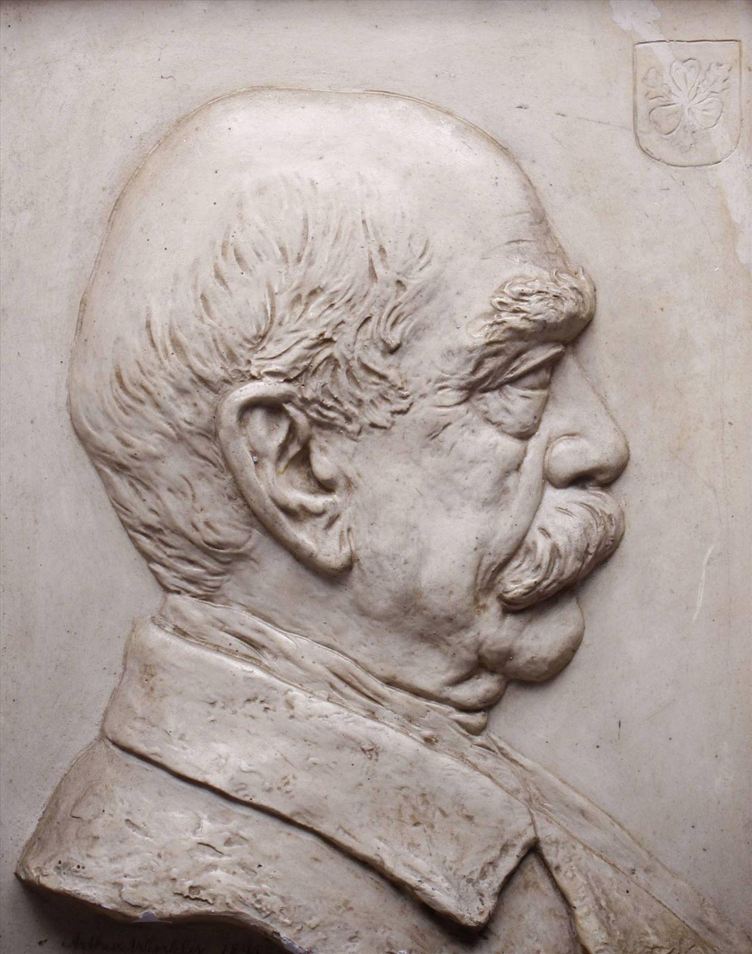 """Arthur Winkler, Gipsrelief, 1895, """"Bismarck"""", unten mittig sign., dat. und bez. """"Bismarck"""", grüner - Bild 2 aus 7"""