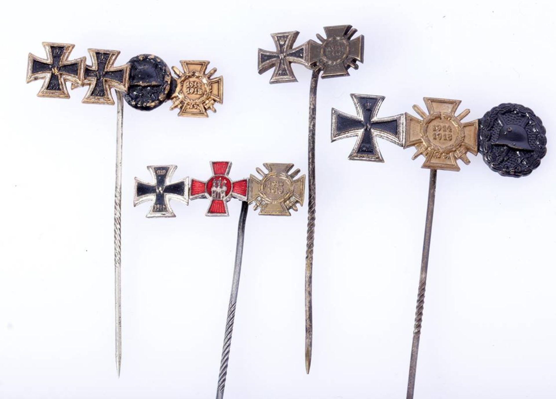 4 x Miniaturen 1. Weltkrieg an langer Nadel4 er Miniatur EK 1, EK 2 , VwA und FEK / 3 er Miniatur EK