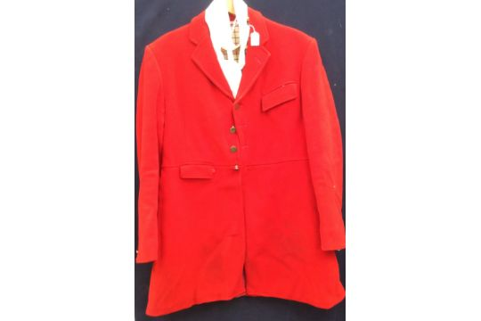 791b479beadc0 A Harry Hall red wool hunting jacket with a cream / red / black checked  lining (gentleman's) size