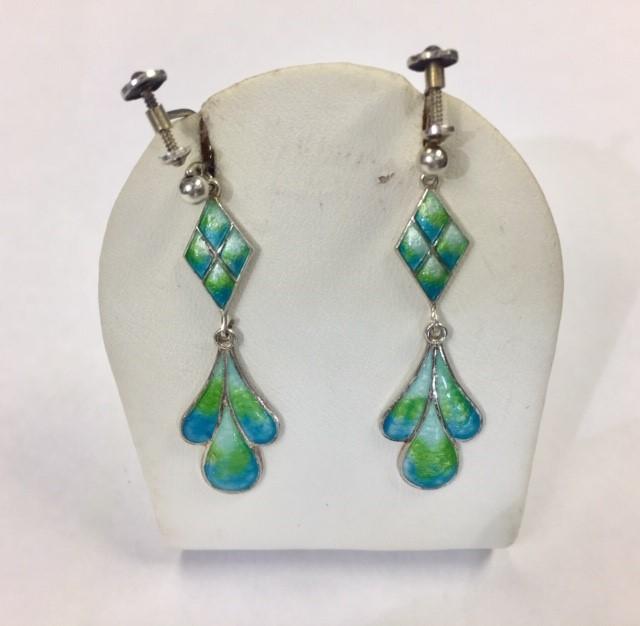 Lot 28 - A pair of silver and enamel drop earrings, with blue/ green enamel foliate dropper, diamond shaped