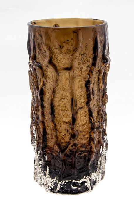 Lot 56 - A Whitefriars cylindrical Cinnamon bark vase, c.1970, by G. Baxter, Patt 9691