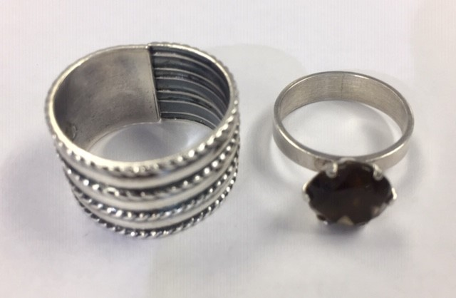 Lot 24 - David Andersen sterling silver ring, Norway, from Saga series, rope details, width approx. 14mm,