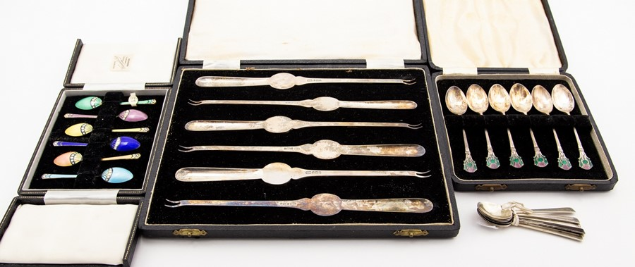 Lot 2 - A collection of Elizabeth II silver flatware including a set of six silver lobster picks, Atkin