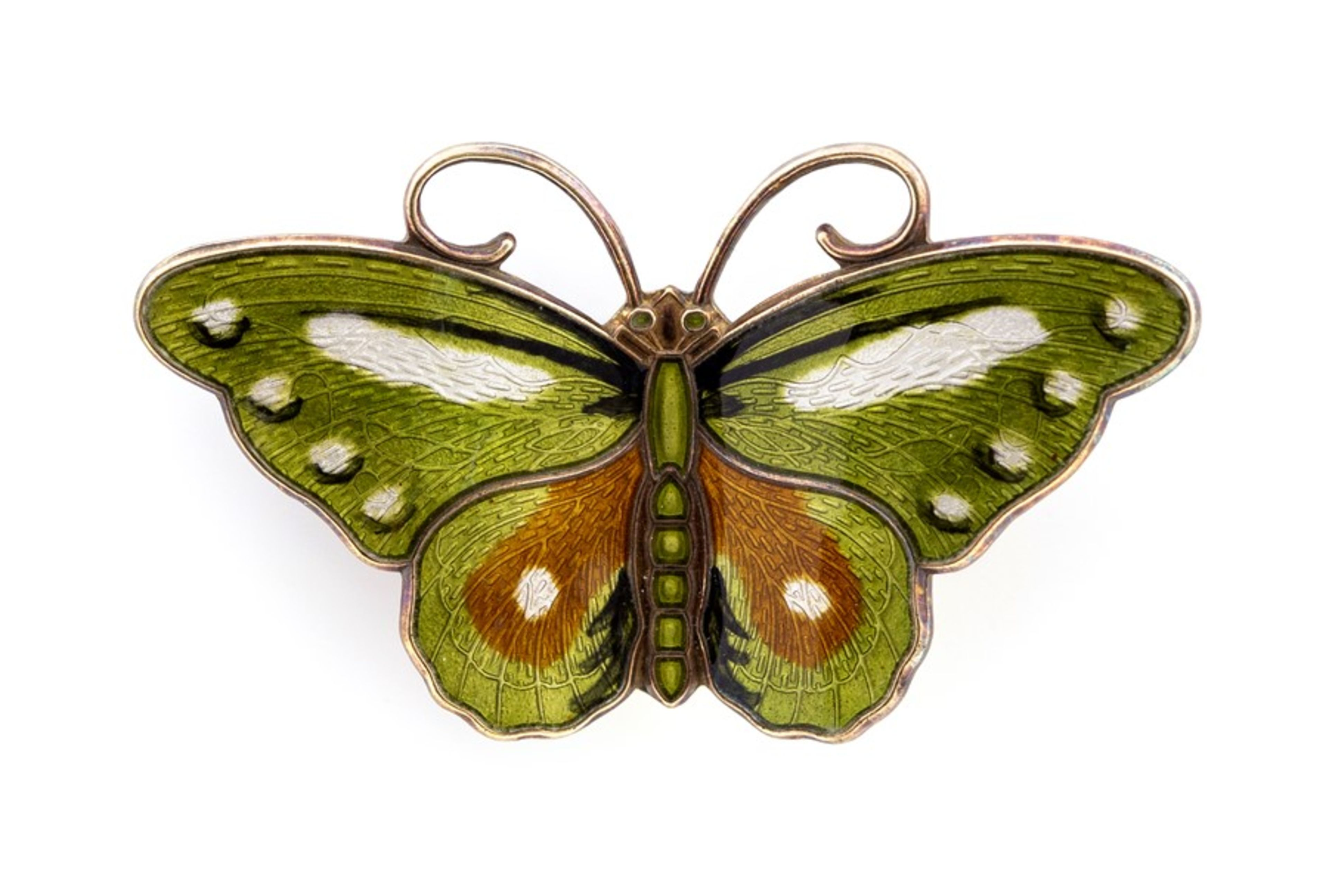 Lot 13 - Hroar Prydz - a Norwegian silver and enamel butterfly brooch, in green, white and brown tones,