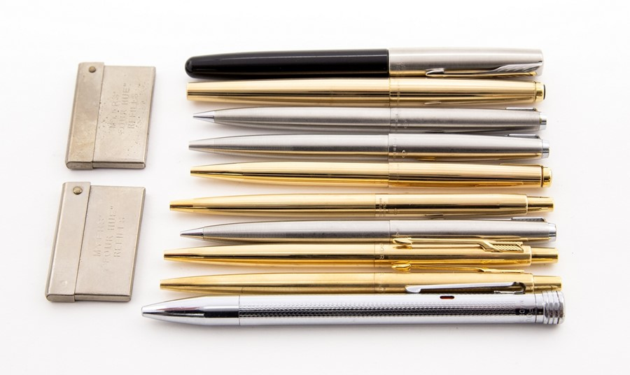 Lot 45 - A collection of pens including three rolled gold Parker ball points; Parker fountain and ball point;