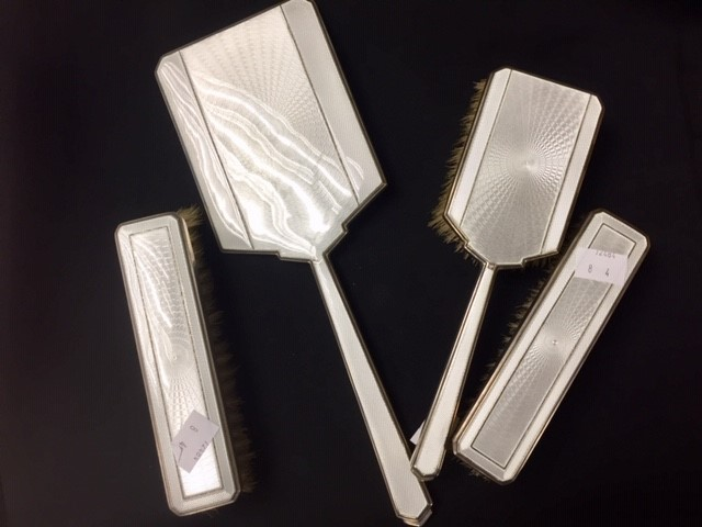 Lot 5 - A 4 piece silver and enamel dressing table set, Birmingham 1936, Barker Brothers Silver Ltd (4)