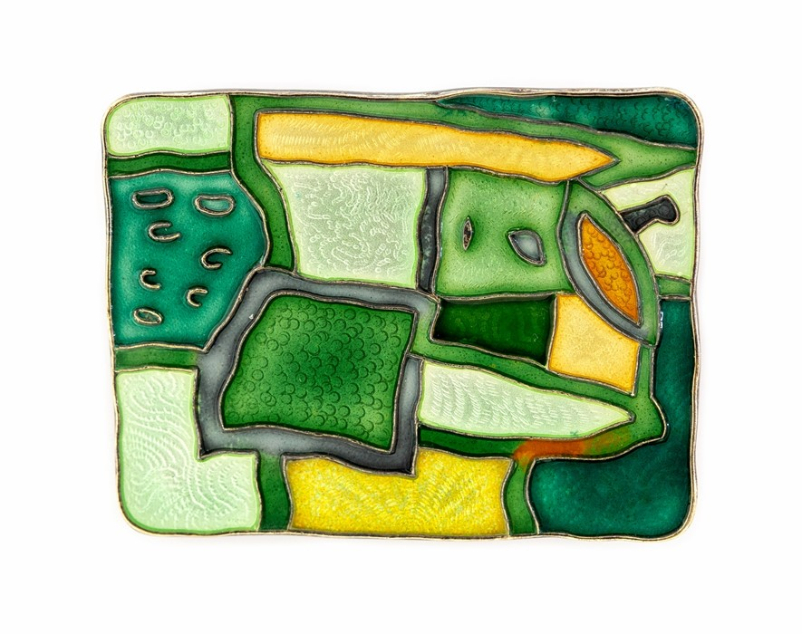 Lot 23 - David Andersen - a Norwegian silver and enamel four seasons brooch, Winter, green and yellow