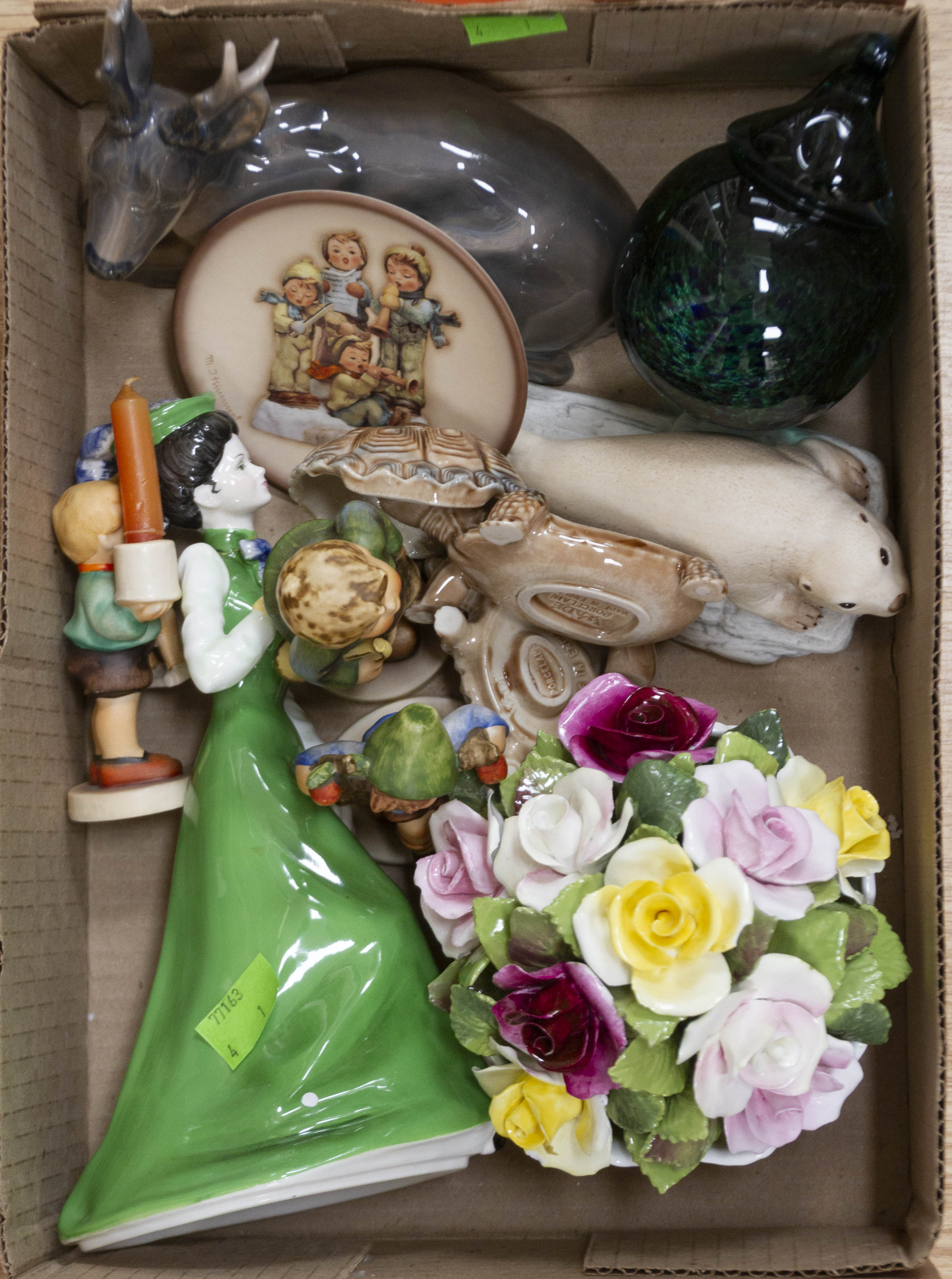 Lot 1269 - A collection of mixed potteries to include; Royal Copenhagen stag, Coalport lady, Coalport flowers,