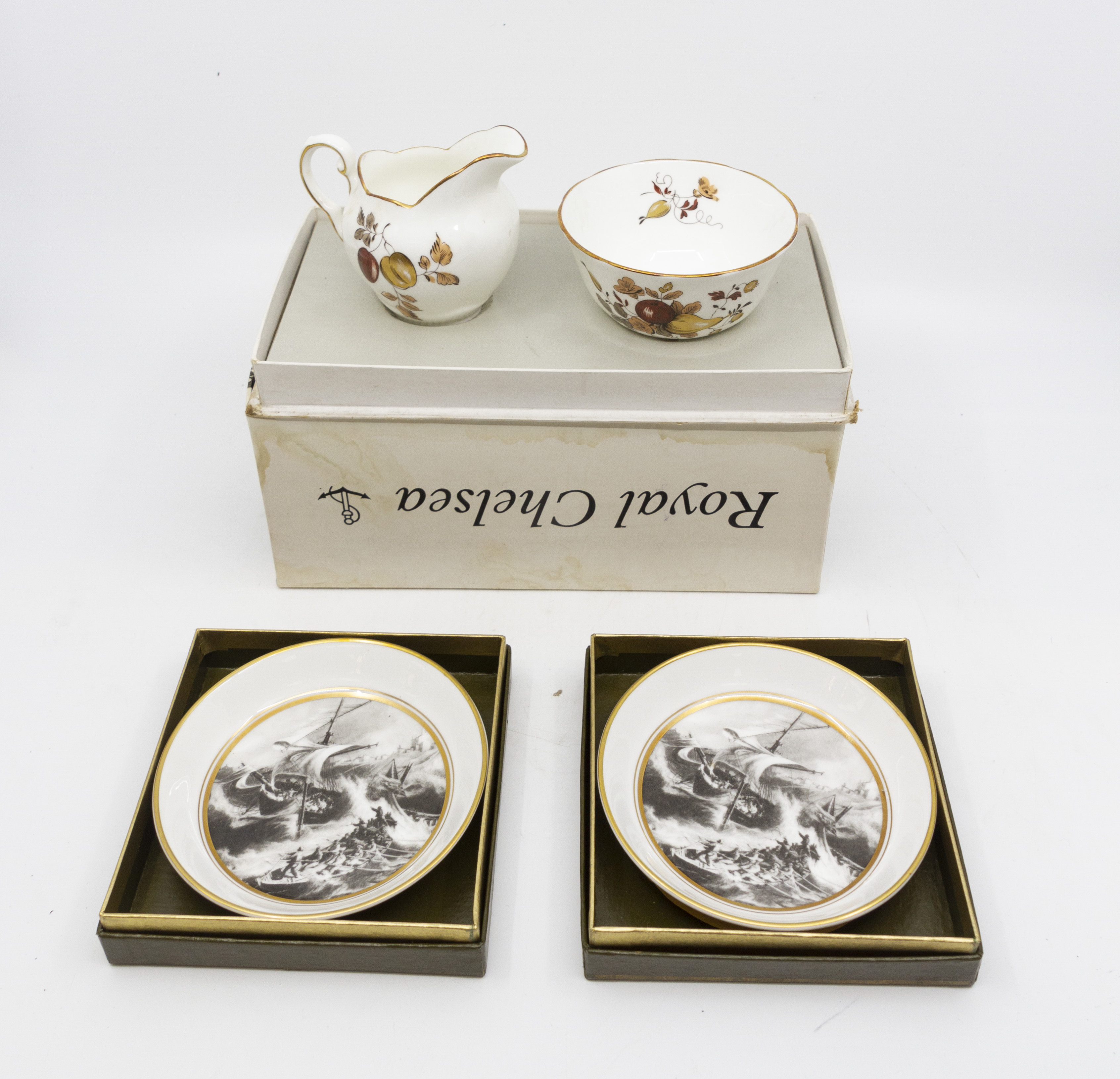 Lot 1240 - Royal Worcester pin trays, The Schooner,
