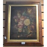 Lot 2020 - Oil on canvas, still life of flowers, in wooden frame, with a pair of mirrors,