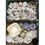 Lot 1459 - Two boxes of assorted ceramics including Wedgwood; trinkets, vases, boxes, hand painted ceramics,