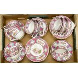 Lot 1375 - An English breakfast set, Spode/Copeland, retailed by Maple & Co Ltd, London, painted on transfer,