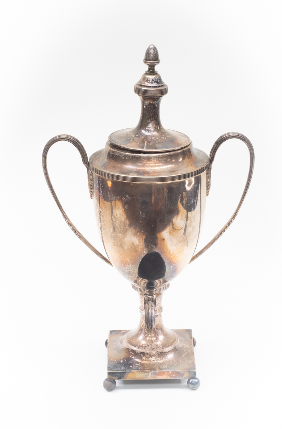 Lot 1 - Early 20th Century silver plated hot water urn with twin handles