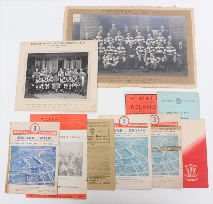 Lot 197 - Rugby: A collection of assorted rugby memorabilia to include: England v. Wales, 15/1/1949, menu