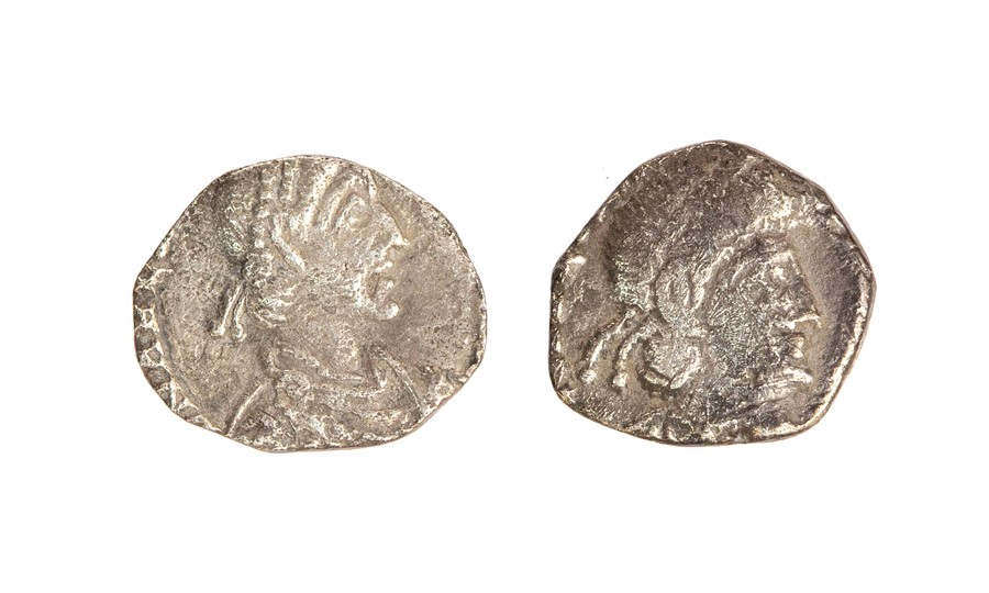 Lot 43 - Two heavily clipped silver siliquae dating to the late 4th or early 5th century. The first of Julian