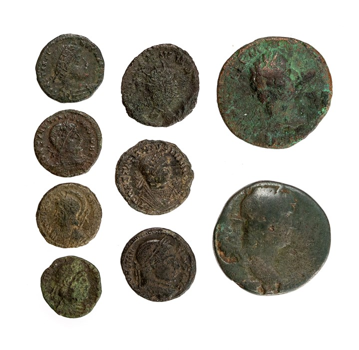 Lot 38 - A mixed lot of nine copper-alloy Roman coins, mostly 4th century, but with a smattering of earlier