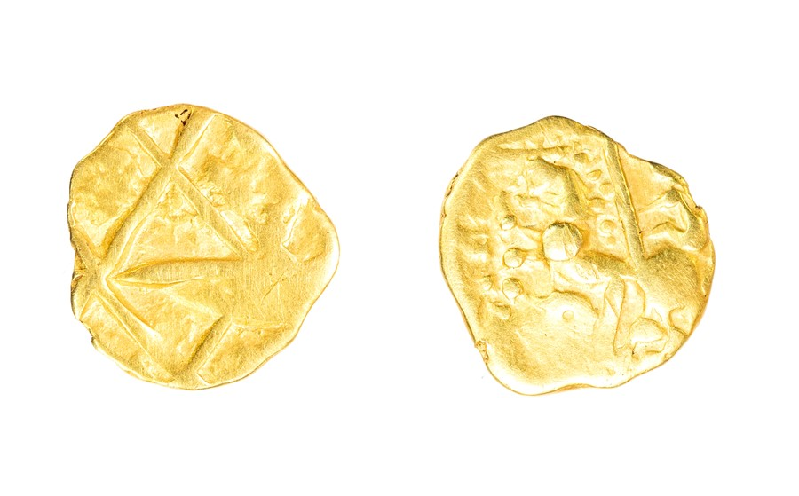 Lot 10 - A gold quarter stater of Gallic extraction (attributed to the Nervii) probably dating to the