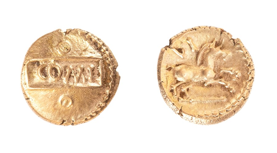 Lot 9 - An inscribed gold quarter stater of the Southern Region/Atrebates and Regni, struck under Verica (
