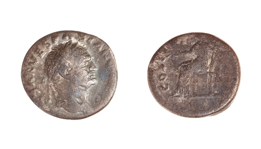 Lot 48 - A silver denarius of Vespasian (AD 69-79) dating to c. AD 69-71. Obverse: [IMP CAE]SAR VESPASIAN[