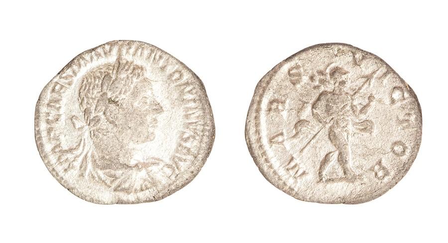 Lot 53 - A silver denarius of Elagabalus (AD 218-222) dating to c. AD 218-219. Obverse: IMP CAES M AVR