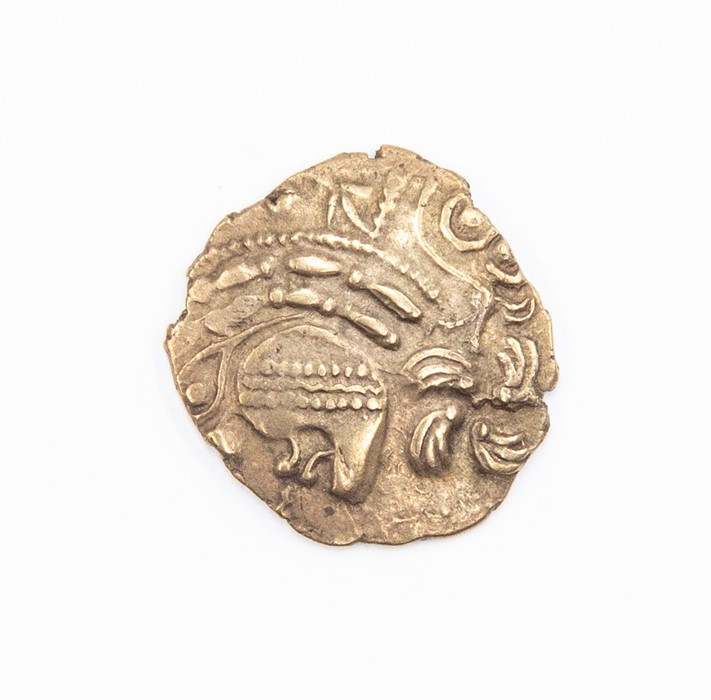 Lot 6 - An uninscribed Gallic half stater attributed to the Aulerci Eburovices, c. 150-100 BC. Obverse: no