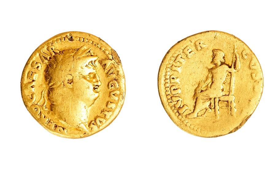 Lot 32A - A gold aureus struck for Nero (AD 54-68), dating to c. AD 54-68. Obverse: NERO CAESAR AVGVSTVS,