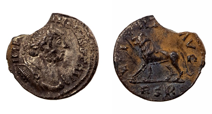 Lot 33 - An incomplete unpublished silver denarius of the Britannic emperor Carausius (AD 286-293) dating to