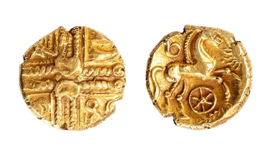 Lot 31 - An uninscribed 'British LB' gold stater of the North Thames Region/Catavellaunii, probably dating c.
