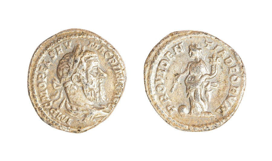 Lot 57 - A silver denarius of Macrinus (AD 217-218) dating to c. AD 217-218. Obverse: IMP C M OPEL SEV