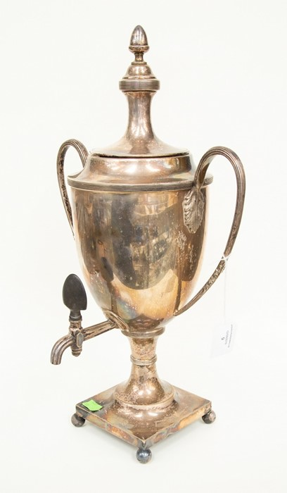 Lot 9 - Early 20th Century silver plated hot water urn with twin handles