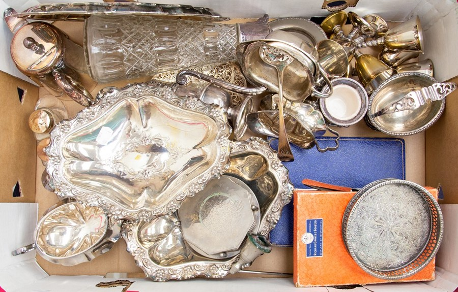 Lot 18 - Collection of silver plated items, including trays, claret jugs, tea set, dishes and goblets