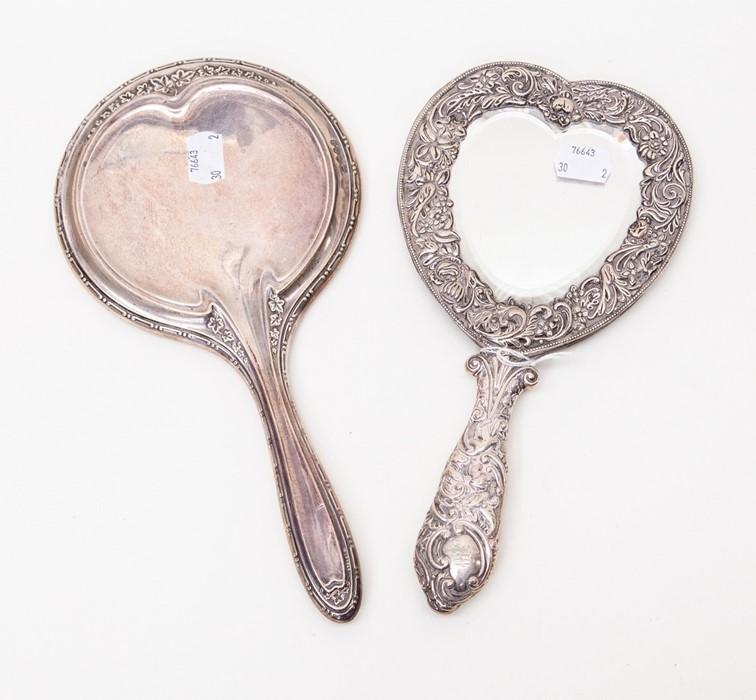 Lot 37 - Birmingham 1898 silver heart shaped dressing table mirror (no back, a/f)