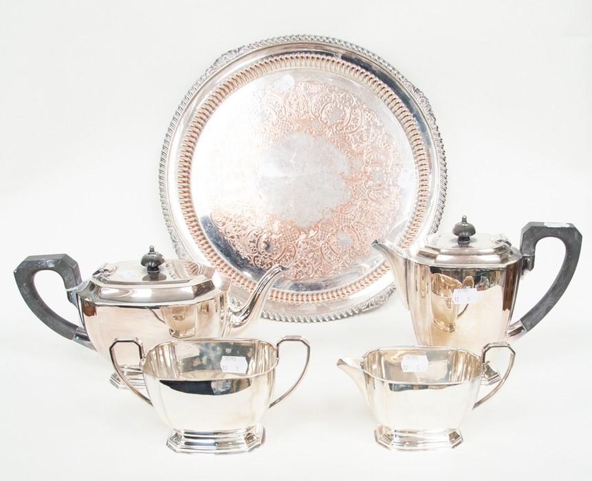 Lot 3 - An Art Deco style silver plate four piece tea service including teapot, hot water jug, milk jug