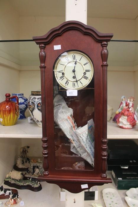Lot 4014 - A 1970's Westminster chime mahogany wall clock