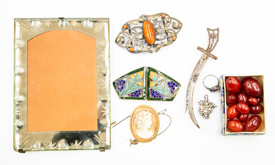 Lot 360 - Amber beads, a sterling silver and amethyst ring, buckles, paste pendant and stud, cameo brooch,