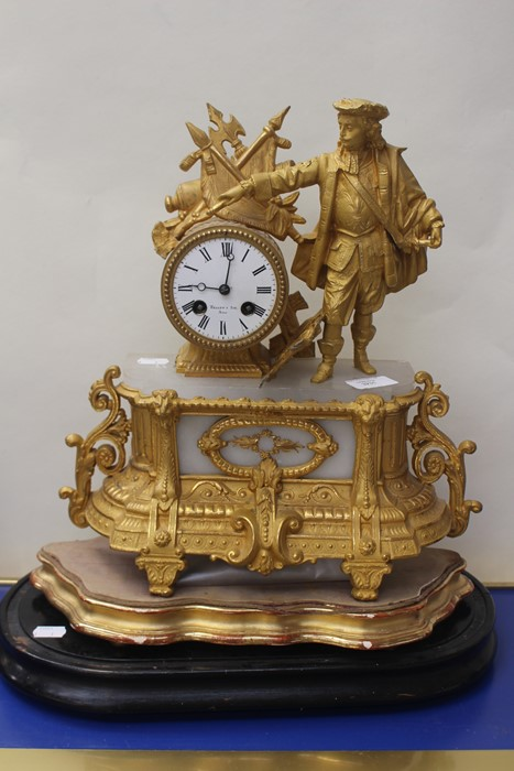 Lot 4034 - **REOFFER IN A&C NOV £100-£120**A late 19th Century French gilt metal and onyx bracket clock,