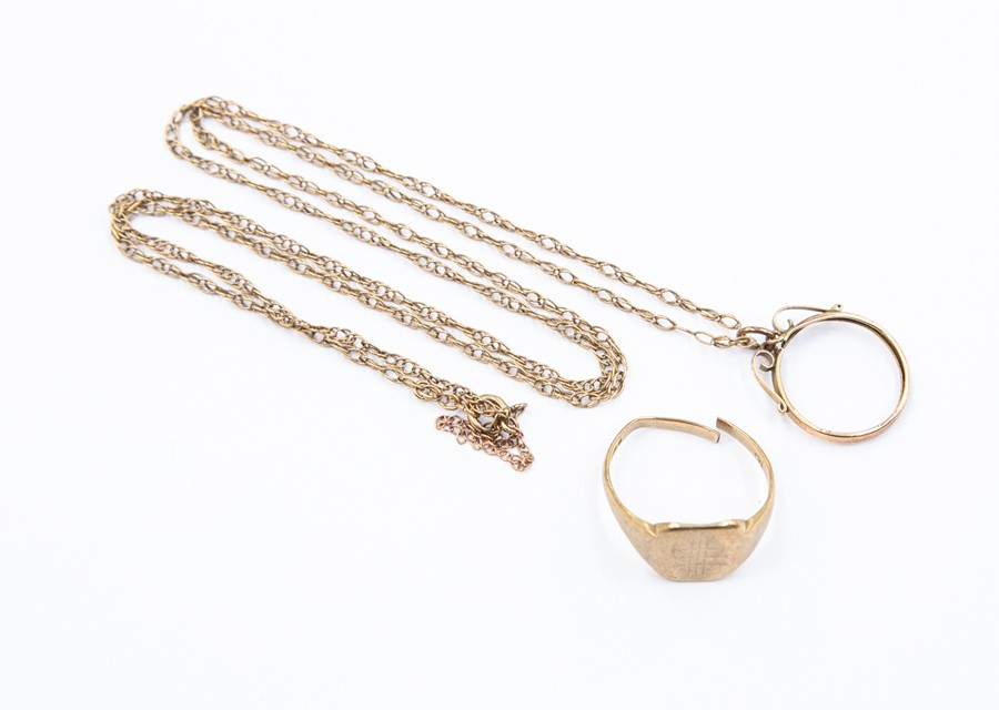 Lot 308 - A collection of 9ct gold items including a signet ring A/F, chain, and coin mount, combined total