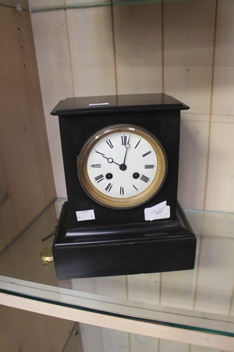 Lot 4021 - A Victorian slate 8 day striking mantel clock