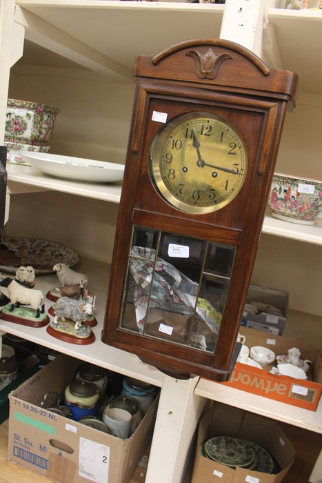 Lot 4006 - A German 8 day wall clock, mahogany cased